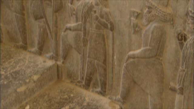 cu tu td detail of bas relief, persepolis, iran - bas relief stock videos & royalty-free footage