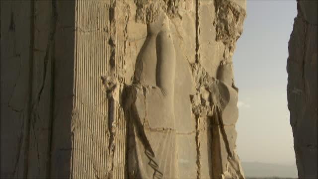 cu tu td detail of bas relief, throne room, persepolis, iran - bas relief stock videos & royalty-free footage