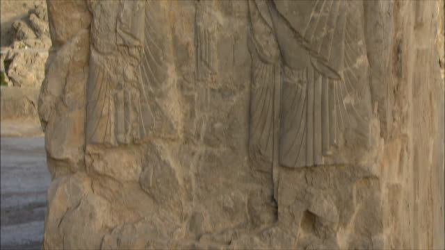 cu tu detail of bas relief, throne room, persepolis, iran - bas relief stock videos & royalty-free footage