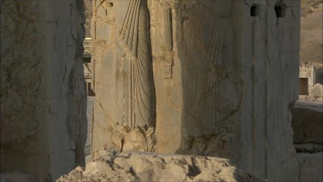 ms tu detail of bas relief, throne room, persepolis, iran - bas relief stock videos & royalty-free footage