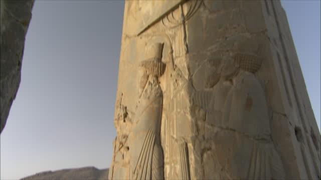 ms tu td detail of bas relief, throne room, persepolis, iran - bas relief stock videos & royalty-free footage