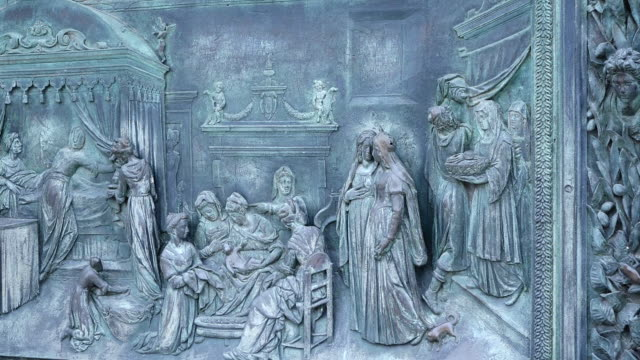 ms detail of bronze main door of cathedral, piazza del duomo / pisa, tuscany, italy - pisa cathedral stock videos & royalty-free footage