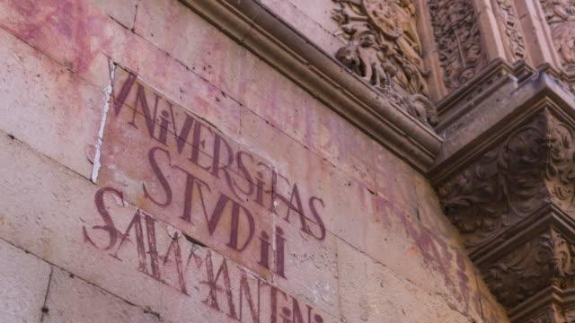 vídeos y material grabado en eventos de stock de detail of facade in university of salamanca, salamanca city, salamanca province, castilla y leon, spain, europe - salamanca