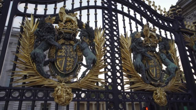 detail of gates, buckingham palace, london, england, united kingdom, europe - palace stock videos & royalty-free footage