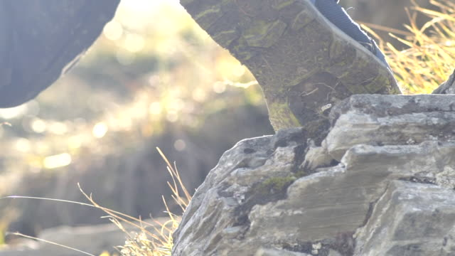 Detail of hiking and climbing up a trail. - Slow Motion