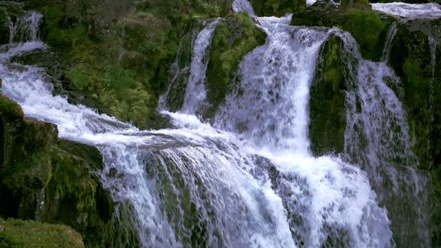 detail of kirkjufellsfoss waterfalls - snäfellsnes stock-videos und b-roll-filmmaterial