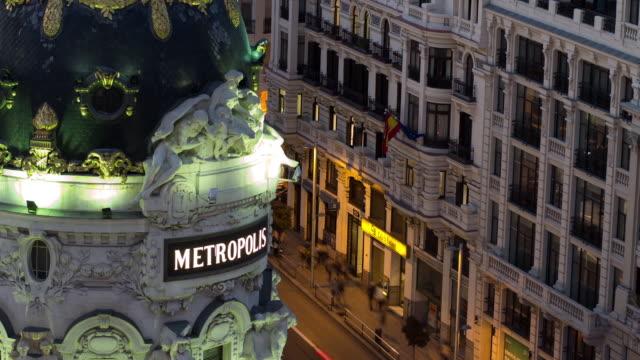 vídeos y material grabado en eventos de stock de t/l - detail of metropolis building, madrid, spain - madrid