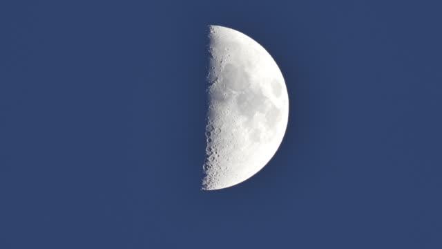 detail of moon in night sky - half moon stock videos & royalty-free footage
