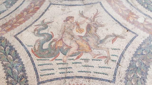 vídeos y material grabado en eventos de stock de detail of mosaic fo neptune in bardo museum - mosaico