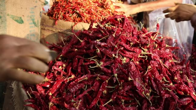 detail of red hot chillies at market - pepper vegetable stock videos & royalty-free footage