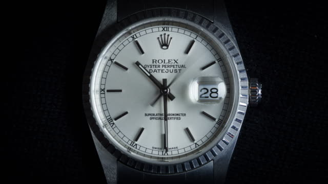 detail of rolex oyster perpetual datejust. this model was manufactured in 2003 in geneva, switzerland. - watch timepiece stock videos & royalty-free footage