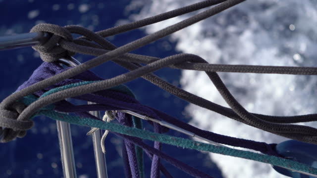 detail of sailboat rigging, ropes - rigging stock videos & royalty-free footage