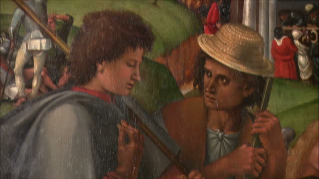 cu td detail of the adoration of the shepherds by luca signorelli, oil on wood, 1496 / the national gallery, london, united kingdom - männliche figur stock-videos und b-roll-filmmaterial