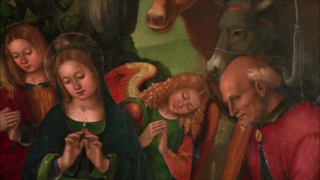 cu pan detail of the adoration of the shepherds by luca signorelli, oil on wood, 1496 / the national gallery, london, united kingdom - conceptual symbol stock videos and b-roll footage