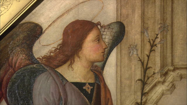 CU TU ZI Detail of The Annunciation attributed to Giannicola di Paolo (Giannicolo da Perugia), oil on wood, late 15th century / The National Gallery, London, United Kingdom