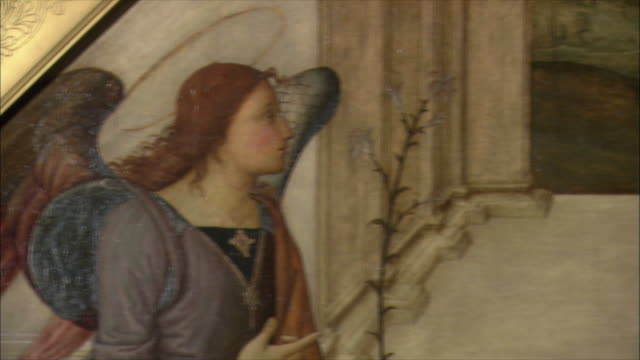 CU PAN Detail of The Annunciation attributed to Giannicola di Paolo (Giannicolo da Perugia), oil on wood, late 15th century / The National Gallery, London, United Kingdom