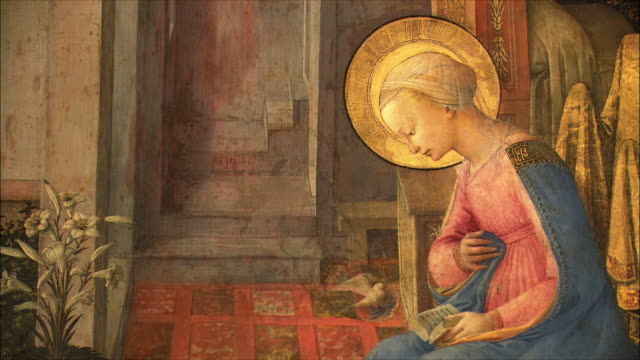 cu zi detail of the annunciation by fra filippo lippi, egg tempera on wood, circa 1450-3 / the national gallery, london, united kingdom - renaissance stock-videos und b-roll-filmmaterial
