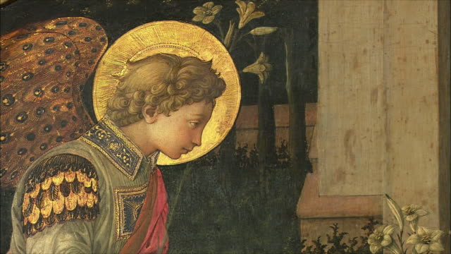 CU PAN Detail of The Annunciation by Fra Filippo Lippi, egg tempera on wood, circa 1450-3 / The National Gallery, London, United Kingdom
