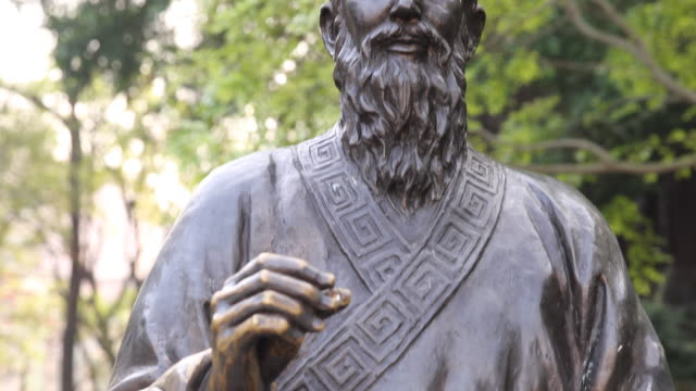 Detail of the bronze Statue of Matteo Ricci SJ who was an Italian Jesuit priest and one of the founding figures of the Jesuit China missions