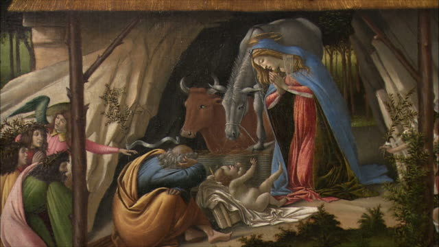 cu zi detail of the mystical nativity by sandro botticelli, tempera painting of circa 1500-1501 / the national gallery, london, united kingdom - renaissance stock-videos und b-roll-filmmaterial
