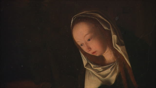 cu zi zo detail of the nativity at night by geertgen tot sint jans, oil on oak, circa 1490 / the national gallery, london, united kingdom - new testament stock videos & royalty-free footage