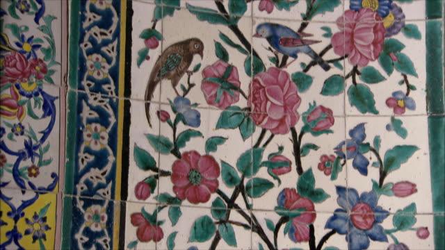 CU TU TD Detail of tiled wall, Tomb of Poet Saadi, Shiraz, Iran