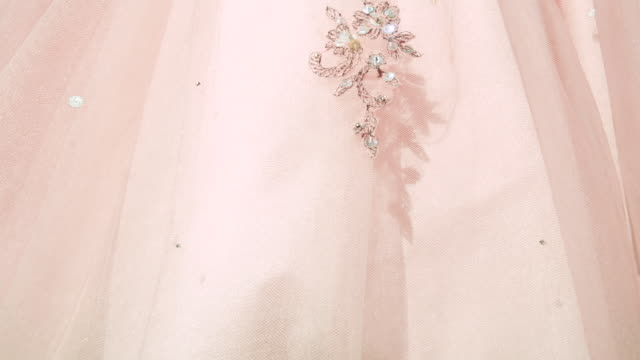 Detail of Vintage Peach Cocktail Dress with Sequins
