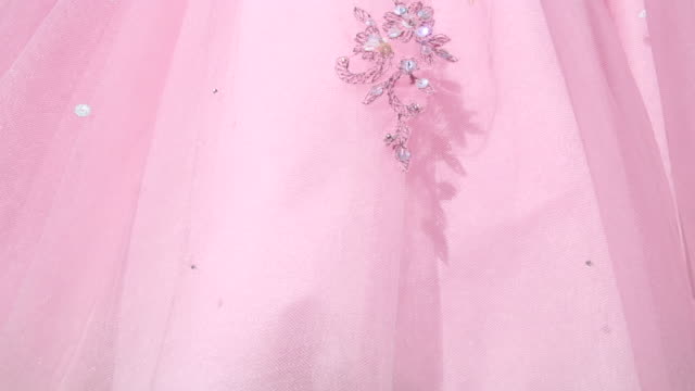 Detail of Vintage Pink Cocktail Dress with Sequins