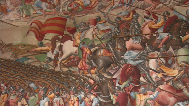 CU PAN Detail of wall painting in Hall of Battles, El Escorial, Northwest of Madrid, Spain