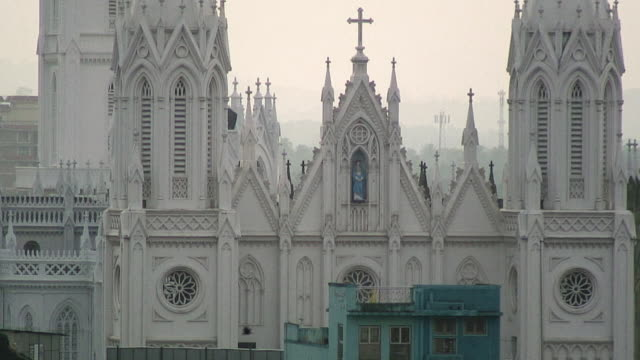 CU Detail of white Catholic cathedral, Thrissur, India