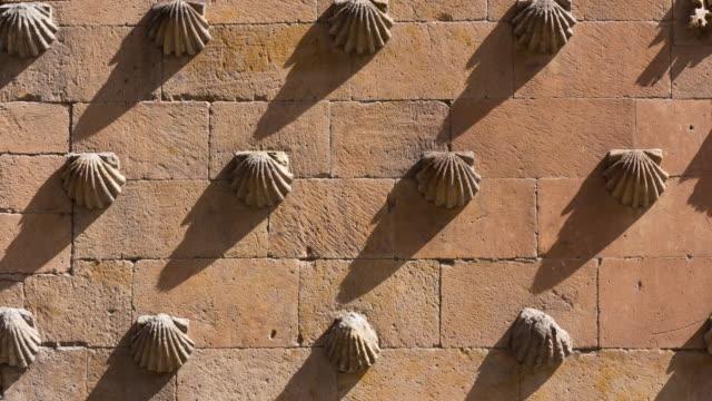 """Detail on the facade of """"Casa de las Conchas"""", Salamanca city, Salamanca province, Castilla y Leon, Spain, Europe"""