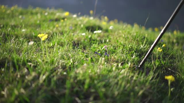 detailaufnahme eines wanderstöckes eines trailläufers auf einer wiese - wanderstock stock-videos und b-roll-filmmaterial