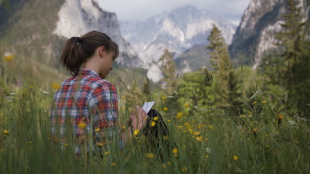 detail shot of a woman sitting in a glade writing on paper - austria stock videos & royalty-free footage