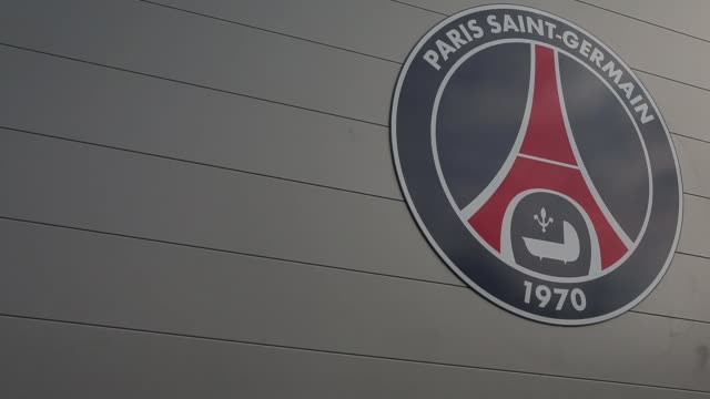 Detail shot of the club logo of Paris SaintGermain FC Video of media at Paris SaintGermain FC Training Session on February 13 2013 in Paris France