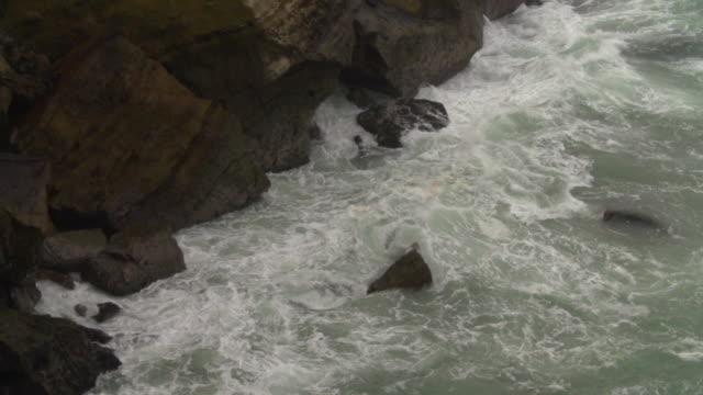 Detail shot of waves crashing on coastal cliffs, long pan