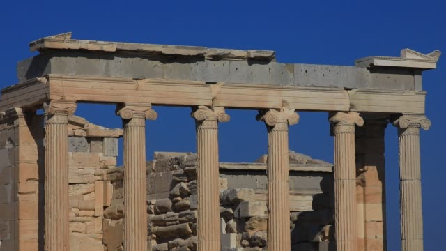 detail view of old temple of athena architecture at the acropolis on august 23, 2020 in athens. during the coronavirus pandemic, greece is... - old ruin stock videos & royalty-free footage