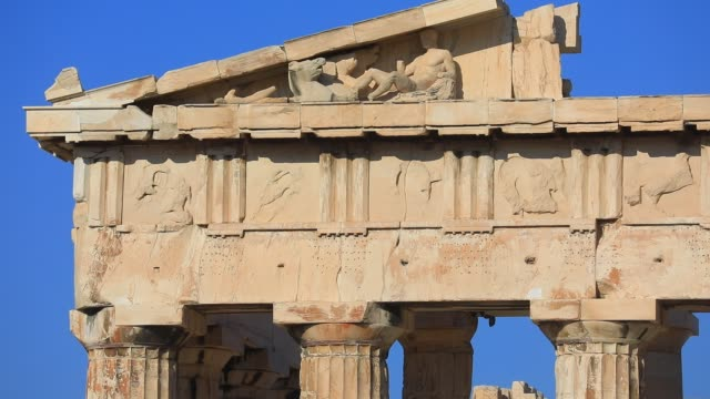 detail view of the parthenon temple architecture at the acropolis on august 23, 2020 in athens. during the coronavirus pandemic, greece is... - column stock videos & royalty-free footage