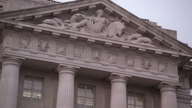 tu detailed carvings on the front of the commerce building / washington, d.c., united states - natural column stock videos and b-roll footage
