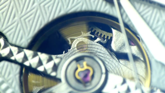 Details of cogs in a mechanical watch