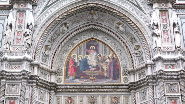 ms details of duomo santa maria del fiore / florence, tuscany, italy - painted image stock videos & royalty-free footage