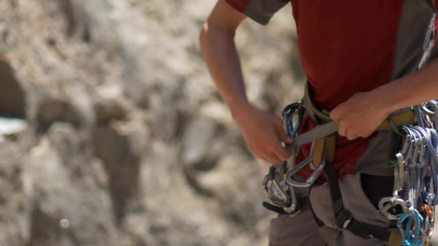 details of rock climbing equipment. - climbing equipment stock videos & royalty-free footage