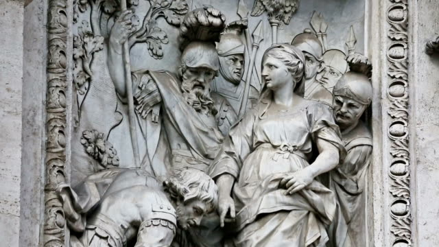 details of statues at trevi fountain in rome - roman soldier stock videos and b-roll footage