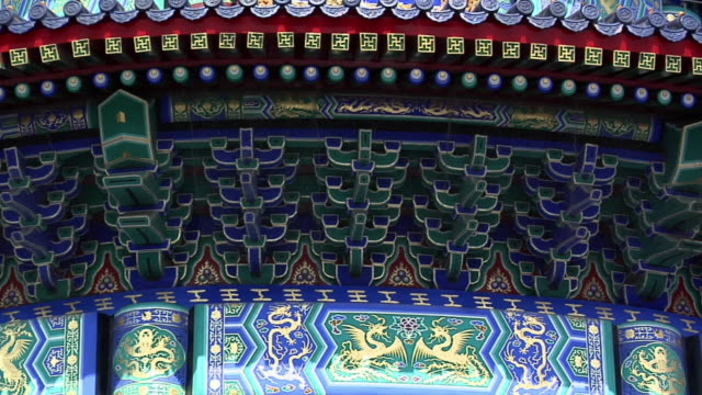 cu zo details on top section of temple of heaven/ beijing, china - temple of heaven stock videos & royalty-free footage