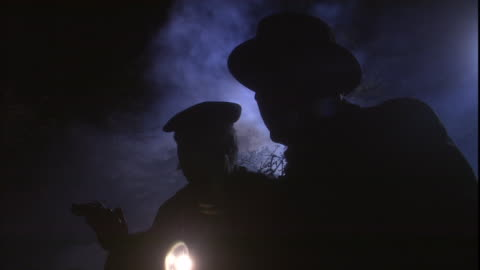 vídeos y material grabado en eventos de stock de detectives stand in the fog at night with a flashlight and a gun. - detective