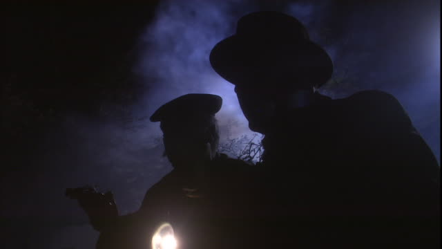 detectives stand in the fog at night with a flashlight and a gun. - detective stock videos and b-roll footage