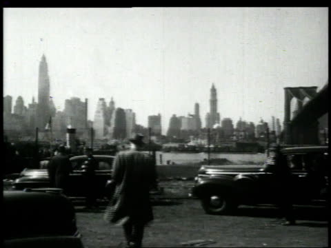1948 montage detectives working at the scene of crime / brooklyn, new york, united states - historical reenactment stock-videos und b-roll-filmmaterial