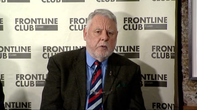 Frontline Club debate / Terry Waite intv ENGLAND London Frontline Club INT Various of Felicity Barr introducing Forntline CLub enent SOT/ Terry Waite...