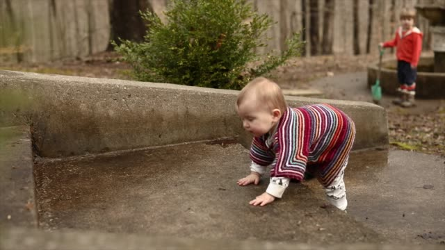 determined baby walking up steps in back yard in profile wearing colorful wool cardigan - warm clothing stock videos & royalty-free footage