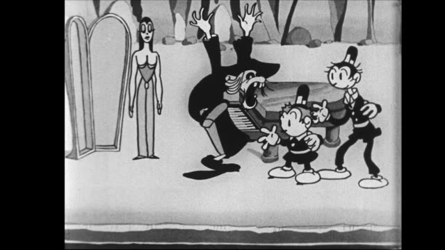 Determined Tom and Jerry chase skeleton witch man