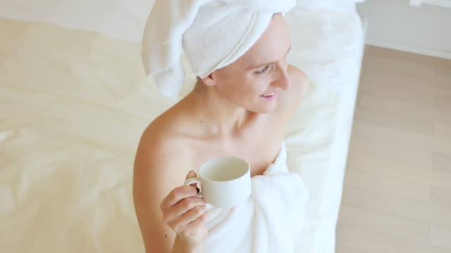 detox wellbeing moments ! - wrapped in a towel stock videos & royalty-free footage